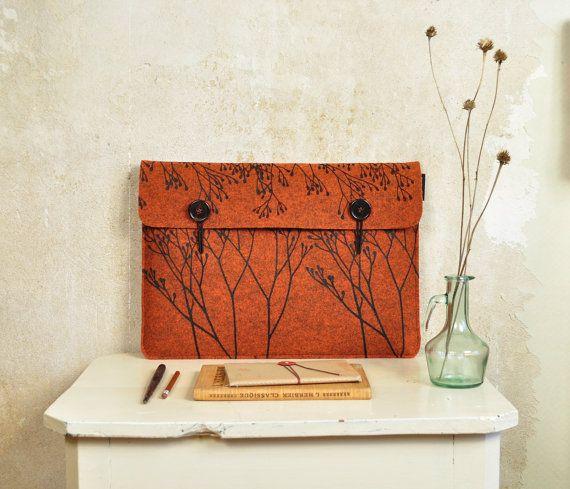 Macbook case 15  orange laptop sleeve in Felt by AkeleiDesigns