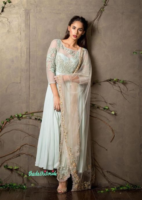 Top Picks Pale blue anarkali with lightly embroidered sheer sleeves with threadwork - Shyamal and Bhumika New Collection 2015 - A Little Romance - Autummn-Winter Collection 2015