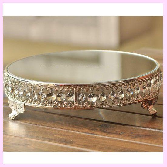 12inch Round Silver Metal Acrylic Crystal Strand Mirror Wedding Cake Stand Decor #FAYBOX