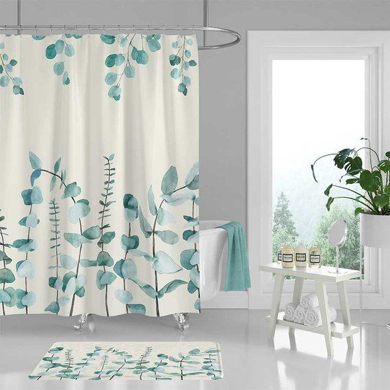Eucalyptus Leaves Shower Curtain Blue Green Bath Mat Floral