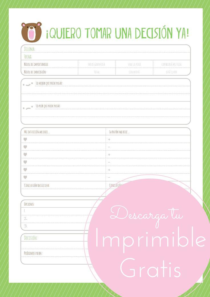 Imprimible gratis para que tomar tus decisiones sea más fácil. #freeprintable