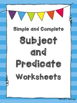- 2 Simple and Complete Subject Worksheets - 2 Simple and Complete Predicate Worksheets  Subject matter includes plastic water bottles at national parks, rescuing American toads, manta rays, and plastic pollution. The worksheets are best for 4th or 5th grade.