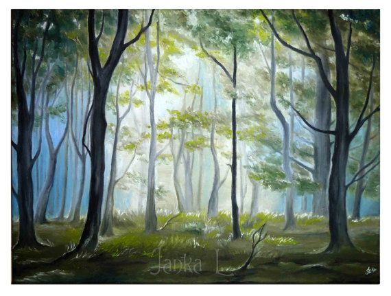 Original oil painting on canvas  Morning in the by JankaLart