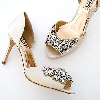 Badgley Mischka Wedding Shoes. A glamorous bridal shoe with a deco vibe. Gorgeous beading across the toe for spectacular aisle style.