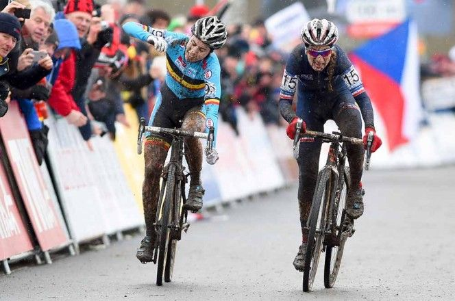 Pauline Ferrand-Prévot outsprints Sanne Cant to become the 2015 Cyclocross World Champion - via 2015 Cyclocross World Championships, Tabor – Day 1 Photo Gallery | Cyclephotos.co.uk 1. Pauline Ferrand-Prévot, France, 0:49:10