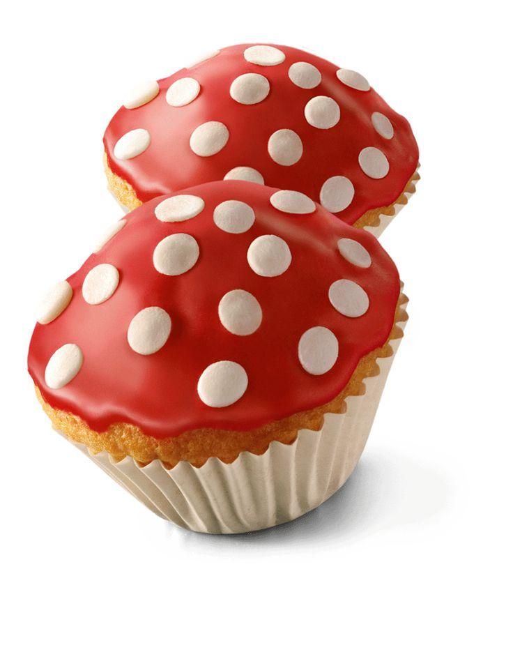 Deze paddenstoel cakejes zijn leuk om te bakken met kinderen als traktatie!