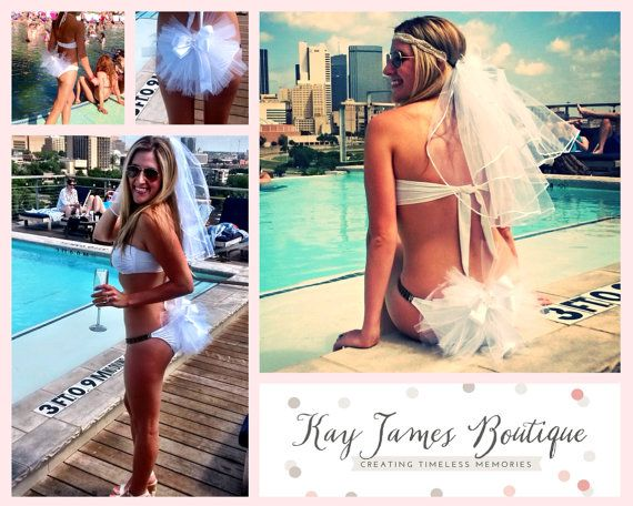 Bridal Booty Veil  The bikini veil clips to by KayJamesBoutique, $35.00