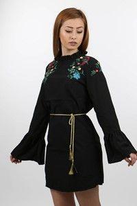 Mint Siyah Gömlek Elbise