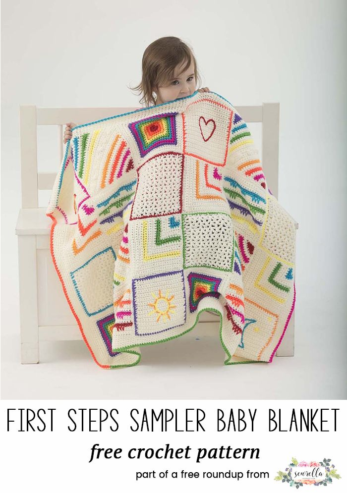 Crochet this cute first steps sampler granny square blanket for kids from my baby playtime essentials free pattern roundup!