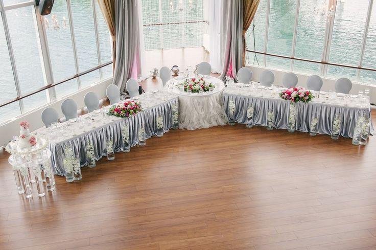 Head Table Decor by Trade Sensation  Chinese Wedding at Atlantis - Metropolitan Room Theme Colours: Silver, White and Fushia Theresa and Calvin's wedding