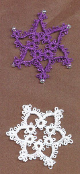 Easy snowflake pattern tatting. Just rings and chains, no tricky joins or advanced techniques.