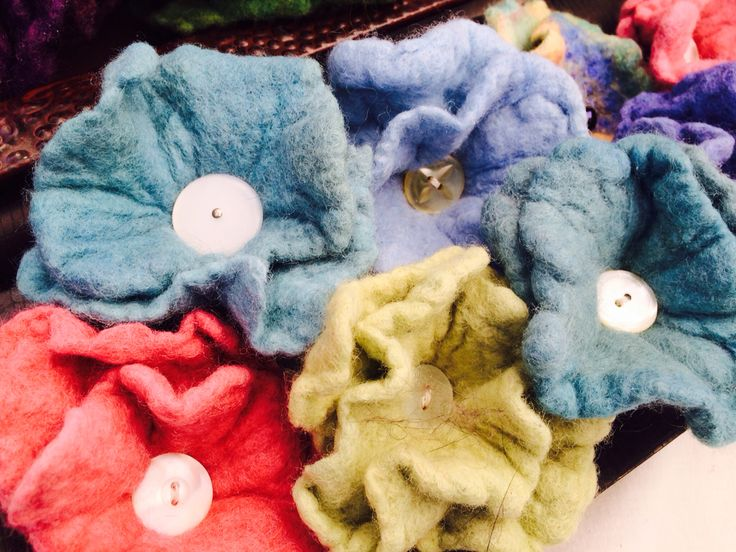 Felted Flower Pins & Hair Clips with Vintage Buttons