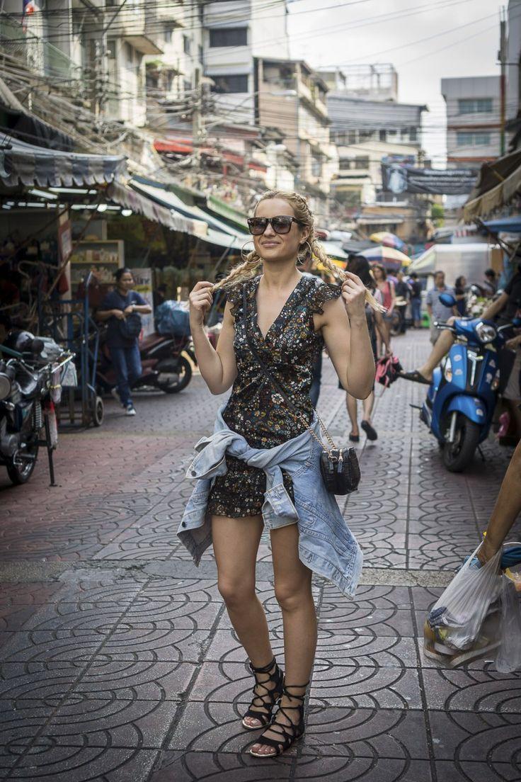 street style fashion outfit inspiration flower dress denim jacket travel thailand