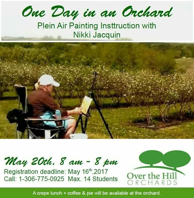 Visit my blog for details. I have an inspiring day of plein air painting instruction, cherry blossoms, fresh fruit crepes and sunsets for you at Over the Hill Cherry Orchards near Lumsden, Sask.!  $100. + GST for art instruction $15.+ taxes for fruit crepes lunch, pie & coffee break  May 20th, 2017 8 am-9 pm 14 years to adult and Painters of all levels and mediums welcome. Children must be accompanied by a registered adult. Max. 14 students Registration deadline May 16th; 2017…