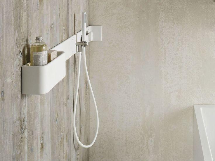 Corian® bathroom wall shelf / shower tap ERGO-NOMIC Bathroom wall shelf by Rexa Design design Giulio Gianturco