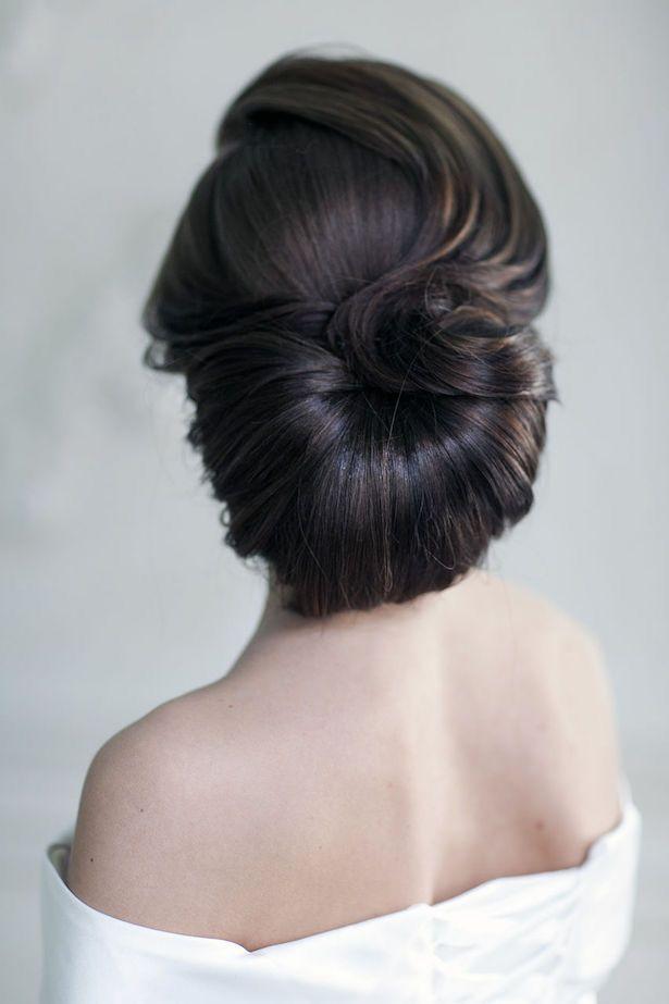 Frisur   Haare   Dutt   Braun   Rückenansicht