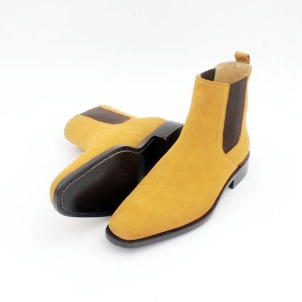 bd0af74e94e2be Joey yellow - suede men Chelsea boots  leather  smallsize  ankleboots   startatsize5