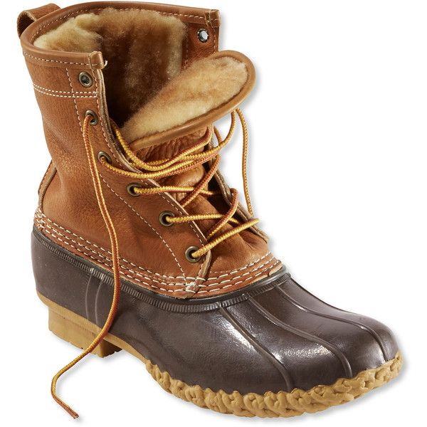 "L.L.Bean Women's Tumbled-Leather Boots, 8"" Shearling-Lined ($209) ❤ liked on Polyvore featuring shoes, boots, genuine leather shoes, leather footwear, shearling lined shoes, l.l. bean boots and leather shoes"