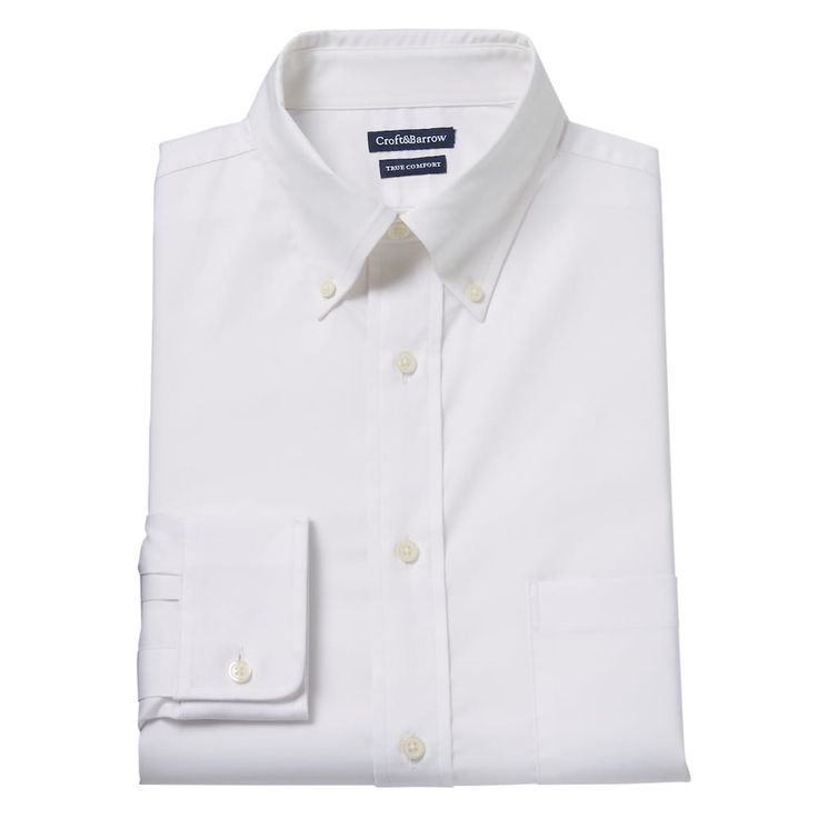 Men's Croft & Barrow® True Comfort Fitted Oxford Stretch Dress Shirt, Size: 16.5-34/35, White