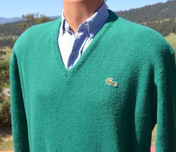 5dffd171 70s vintage golf sweater v-neck LACOSTE izod alligator green preppy ...
