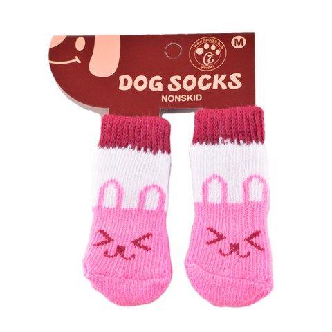 Non-Slip Paw Socks for Dogs / Cats - White / Pink Rabbit - Medium (4 pcs)