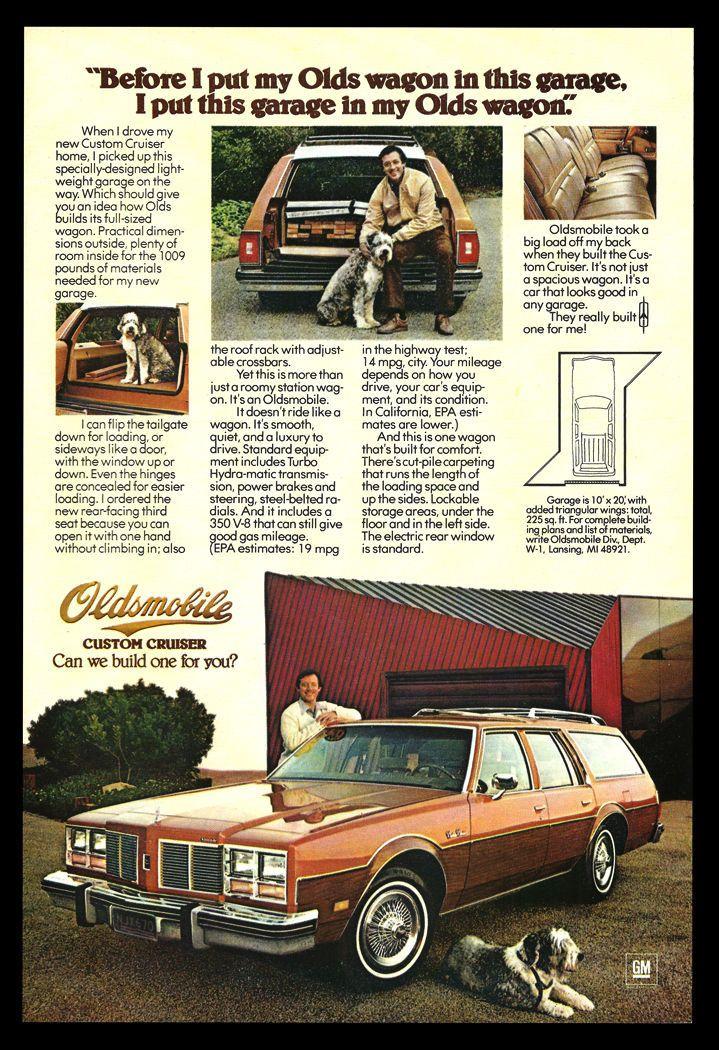 English Sheepdog GM 1977 Olds Wagon Ad Oldsmobile Custom Cruiser Auto Car Advert