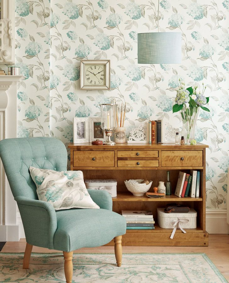 Duck Egg Blue Living Room Wallpaper