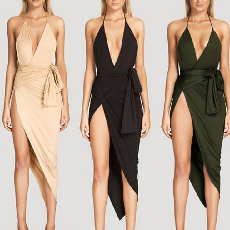 Women Sexy Backless Dress Deep V Club Party Dresses