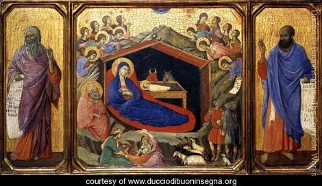 Nativity between Prophets Isaiah and Ezekiel 1308-11 - Duccio Di Buoninsegna - www.ducciodibuoninsegna.org