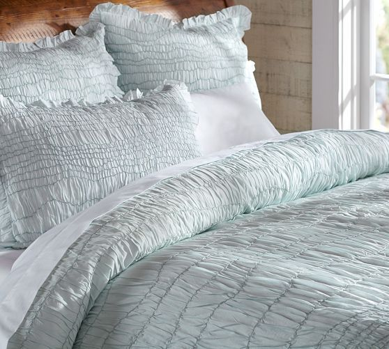 Ruched Voile Duvet Cover Amp Sham Icy Blue Pottery Barn