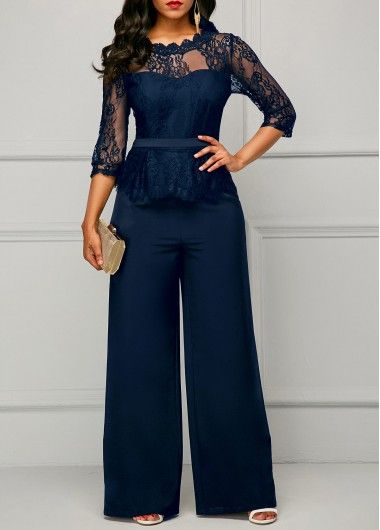 Scalloped Neckline Lace Panel Navy Jumpsuit Rosewe Com