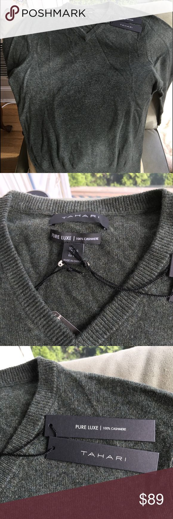 Tahari men's cashmere sweater- large Beautiful heather green 100% cashmere sweater- new with tags. V neck. Tahari Sweaters V-Neck