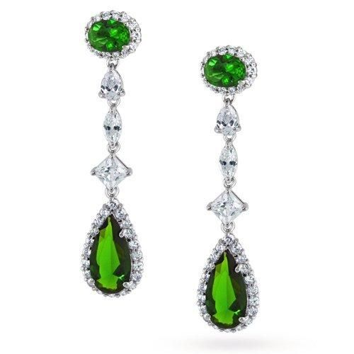 Bling Jewelry Emerald Color Silver Pave Teardrop Chandelier Earrings