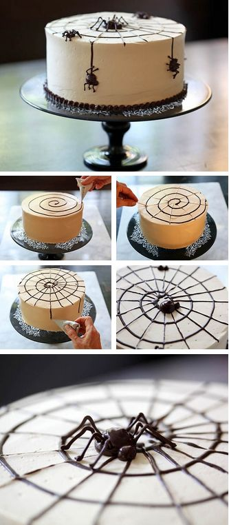 How to Spider Web a Cake Tutorial http://thecakebar.tumblr.com/post/62537190150/how-to-spider-a-cake-must-click-link-for-full