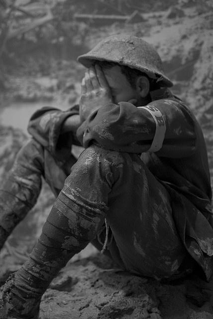 A soldier weeps in despair World War I
