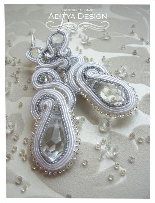 Wedding Earrings, White Silver, Soutache Earrings, Handmade Jewelry, White Earrings, Statement Jewelry, Wedding Earrings, Bridal Jewelry, Sulagna Model by AdityaDesign