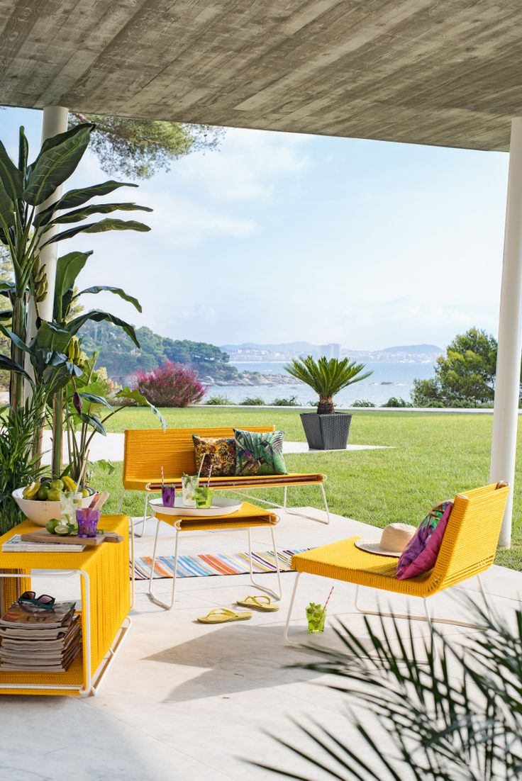 Sofa and Chair Mex by Atelier Pfister, Tropical Retro, Outdoor Ideas, Furnishing and Decoration Ideas, Design, Decoration, Beautiful View, Terrace, Cactuses, Flowers, Elegance, Garden