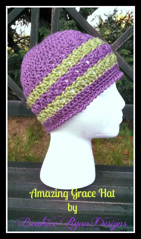 Amazing Grace Hat was designed as a Charity Crochet Hat Free Pattern.  In honor Breast Cancer Awareness.  Beatrice Ryan design