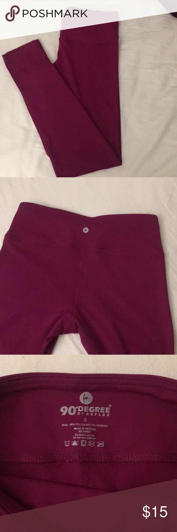 Deep pink-purple gym leggings Never worn. Basic stretchy gym leggings. Size small was too loose on me, unfortunately. 90 Degree By Reflex Pants Leggings
