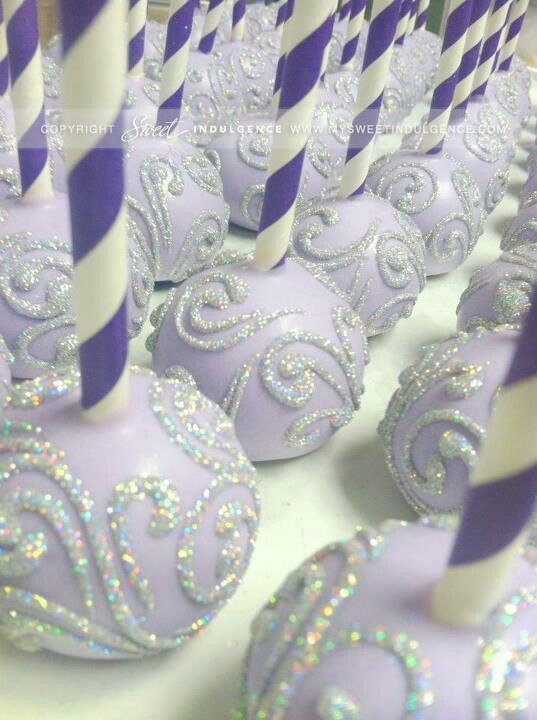 Silver and lavender cake pops.....from www.mysweet indulgence.com Love the decorations