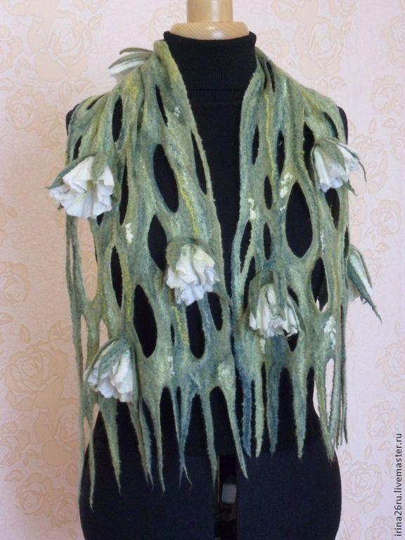 Купить Валяный шарфик - зеленый, цветочный, валяный шарф, бленд шерстяной…