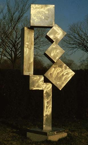 """David Smith, Cubi XII"""", 1963 delineated space- forms carved out of space by positive forms"""