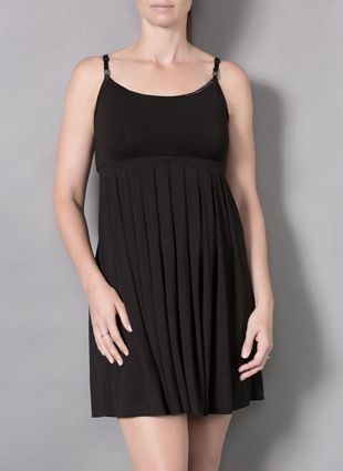 Short Pleated Dress - Flattering and comfortable with design elements for easy breastfeeding. This dress features adjustable straps, magnetic drop down clasps for...