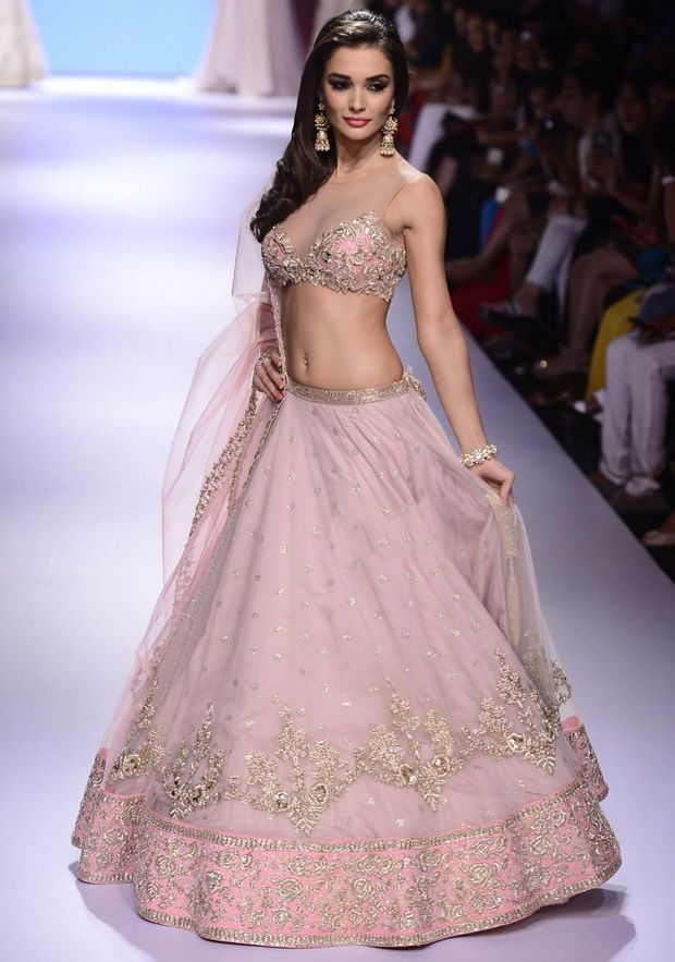Amy Jackson in Gold and Pink Lehenga