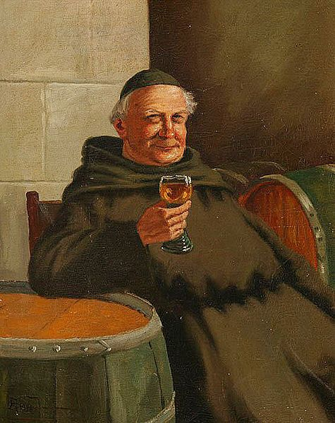 monk with wine