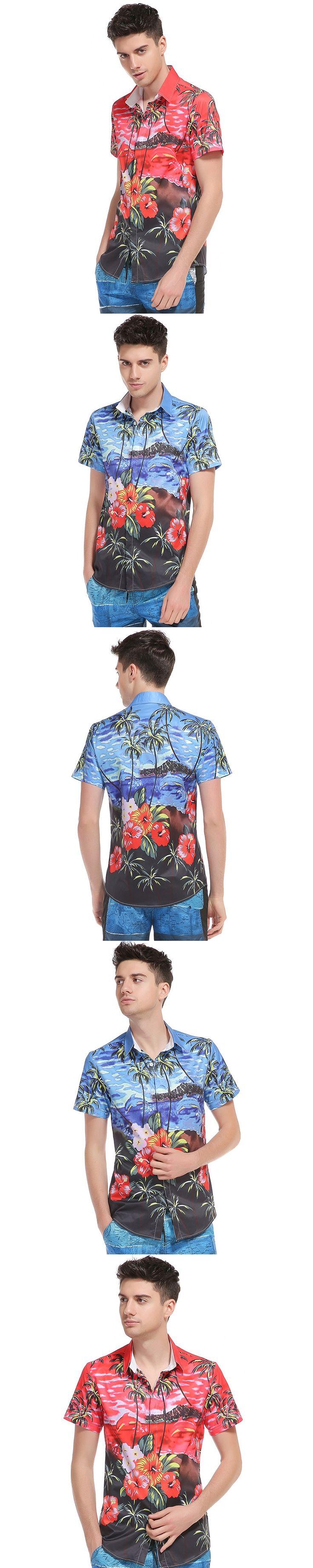 Outside the new model of real estate 3D men's printing palm tree beach printing men's short sleeved shirt DC47