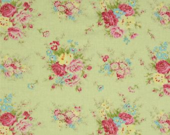Tanya Whelan, Rosey, Little Bouquet, Green. Shabby Chic, Floral. Fabric by the Yard