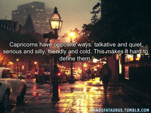 Capricorns have opposite ways: talkative and quiet, serious and silly, friendly and cold. This makes it hard to define them.