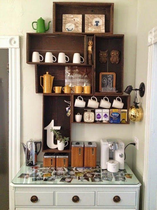 creare un angolo caffè cassette di legno
