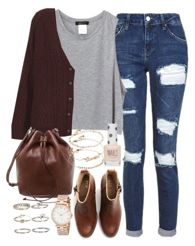 """Outfit for college on a casual day with brown boots and a cardigan"" by ferned ❤ liked on Polyvore featuring Topshop, Whistles, Acne Studios, ASOS, Boohoo and Marc by Marc Jacobs"